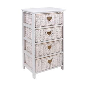 Etajeră cu 4 coșuri Clayre & Eef Dresser, 40 x 73 cm, alb