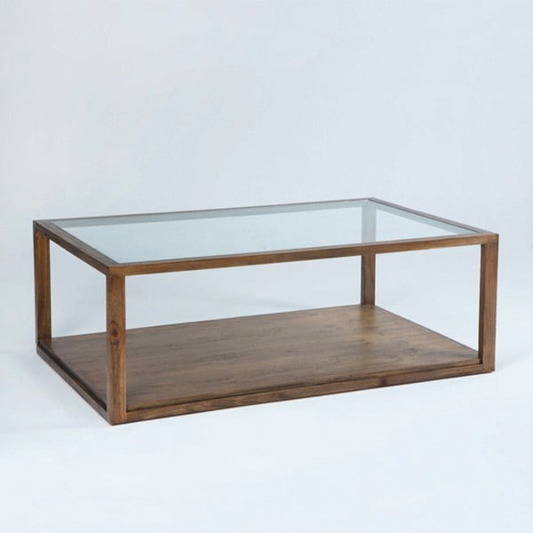 Konferenční stolek z lakovaného dřeva a skla Thai Natura, 130 x 80 cm