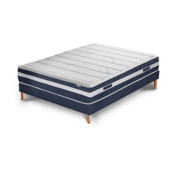 Niebiesko-białe łóżko z materacem Stella Cadente Maison Venus Europe, 140x200 cm