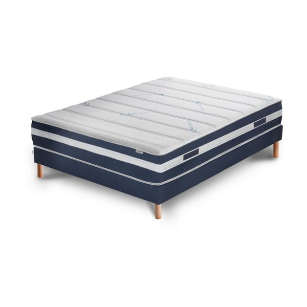 Tmavě modrá postel s matrací Stella Cadente Maison Venus Europe, 140x200 cm