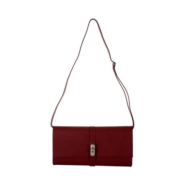 Rubínově červená kožená kabelka Andrea Cardone Calandra