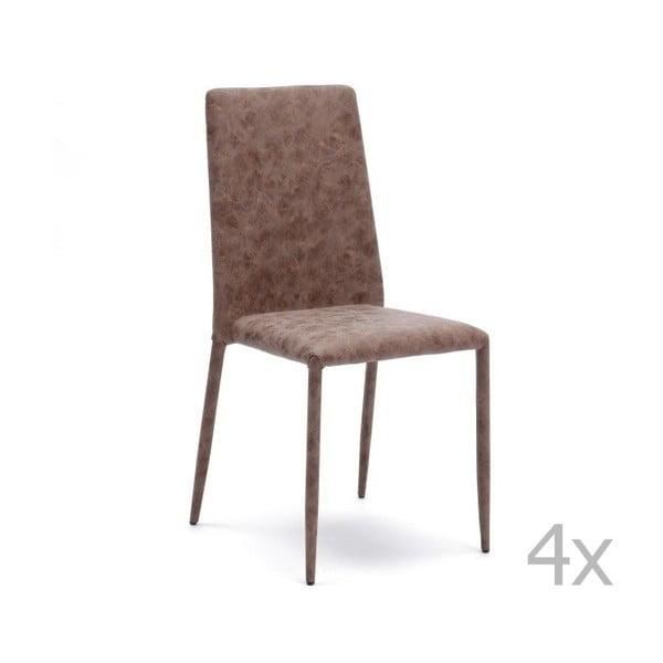 Sada 4 hnědých jídelních židlí Design Twist Dammam