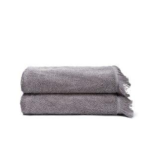 Sada 2 šedých bavlněných osušek Casa Di Bassi Bath, 70x140cm