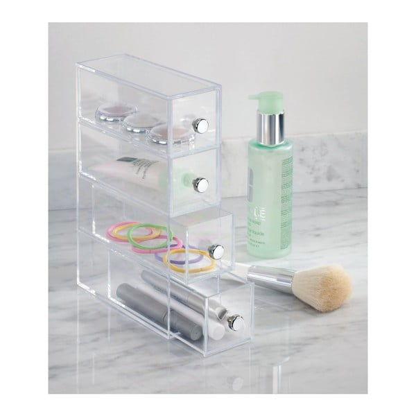 Transparentní úložný box s 4 šuplíky InterDesign Wers