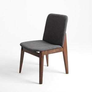 Šedá židle s ořechovými nohami Kristo