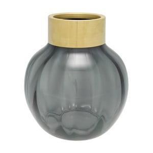Šedá skleněná váza s kovovým lemem Green Gate, výška 19 cm