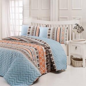 Sada prošívaného přehozu přes postel a dvou polštářů Twin Light Blue, 200x220 cm
