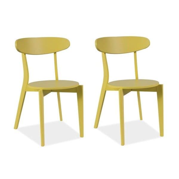Sada 2 jídelních židlí Coral Yellow