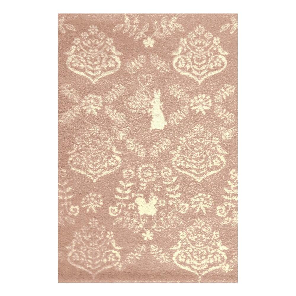 Růžový koberec Art For Kids Rabbit, 100 x 150 cm