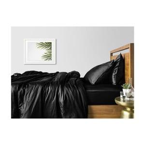 Sada 2 černých bavlněných povlečení na jednolůžko s černým prostěradlem COSAS Lago, 160 x 220 cm