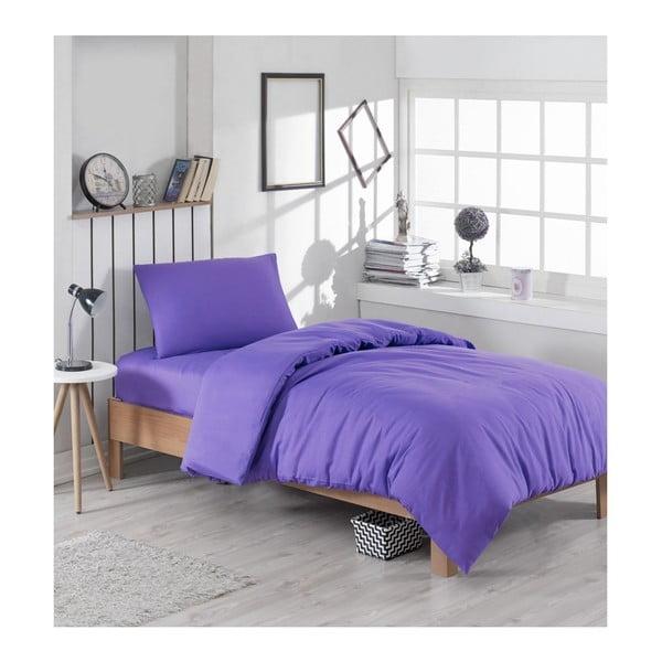Lenjerie de pat și cearșaf Paint Violet, 140 x 200 cm