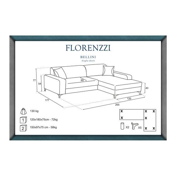 Canapea cu șezlong pe partea dreaptă Florenzzi Bellini, turcoaz