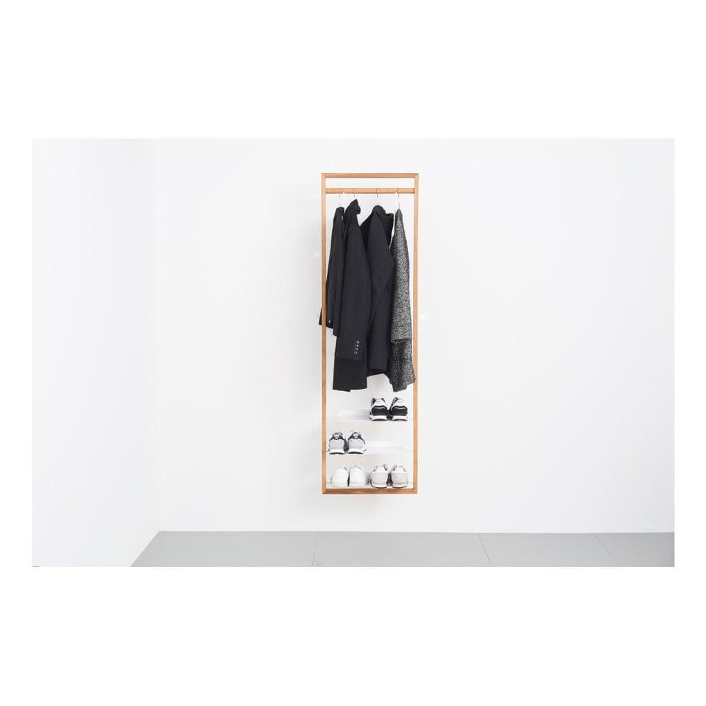 Věšáková stěna z dubového dřeva das kleine b Gardero, 52 x 174 cm