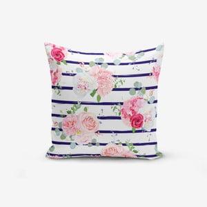 Povlak na polštář s příměsí bavlny Minimalist Cushion Covers Blue Linears Kavanice Flower, 45 x 45 cm