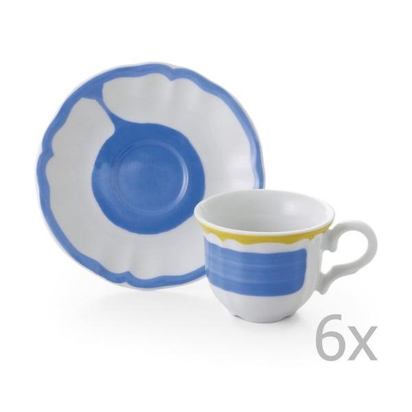 Sada 6 hrnků a 6 talířků Giotto Blue