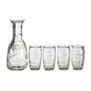 Set 4 pahare și carafă Premier Housewares Embossed imagine