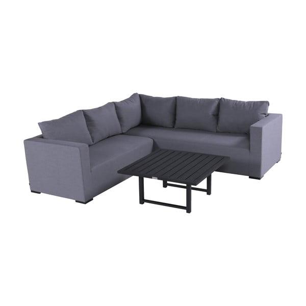 Set sivého záhradného nábytku a štvorcového stolíka Hartman Oliver