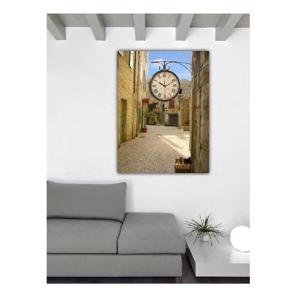 Obraz s hodinami Prosluněná ulice, 60x40 cm