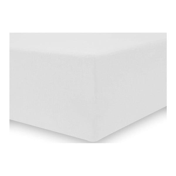 Bílé elastické prostěradlo DecoKing Amber Collection, 80-90 x 200 cm