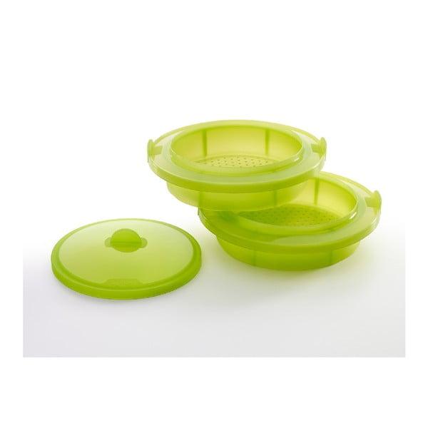 Zelená silikonová nádoba na vaření v páře Lékué Steamer XL, ⌀ 27,5 cm
