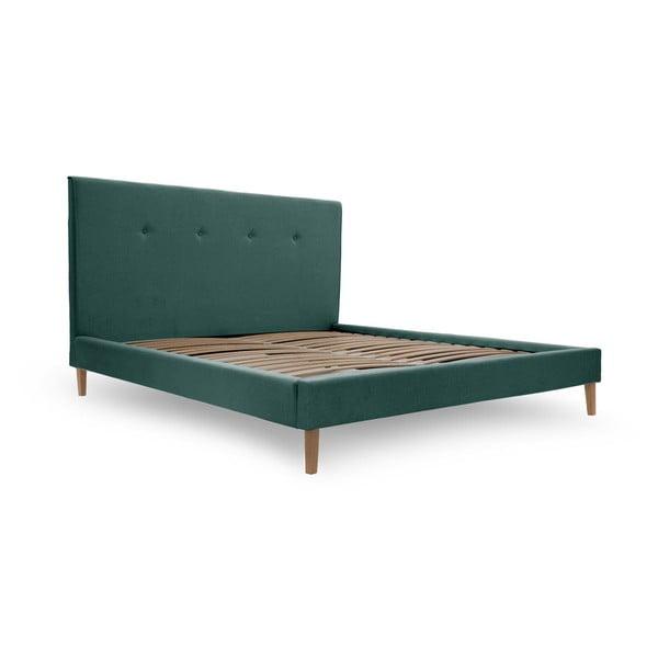 Zeleno-modrá postel s přírodními nohami Vivonita Kent,180x200cm