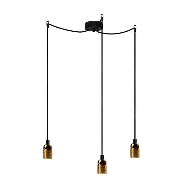 Lampa wisząca z 3 czarnymi kablami i oprawą żarówki w kolorze złota Bulb Attack Uno Basic