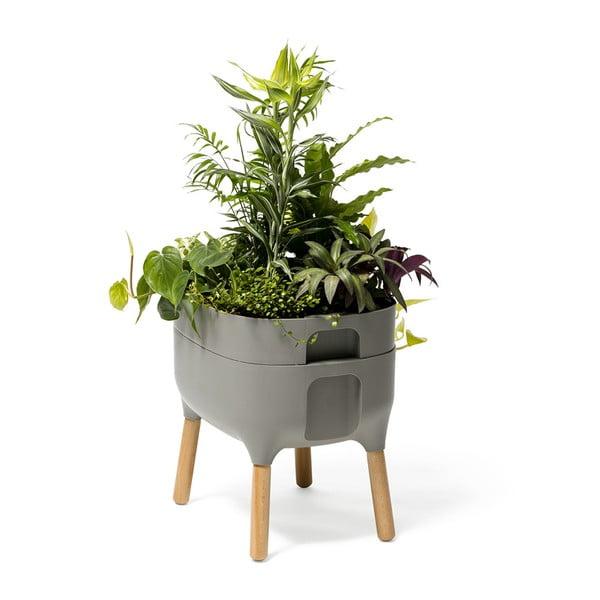 Vas pentru cultivarea plantelor Plastia Low Urbalive, înălțime 48 cm, gri