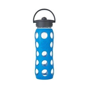 Sticlă de voiaj cu pai, din sticlă, cu protecție din silicon, Lifefactory Sea, 650 ml