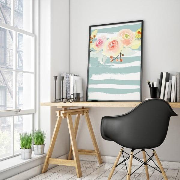 Plakát s květinami, modro-bílé pozadí, 30 x 40 cm