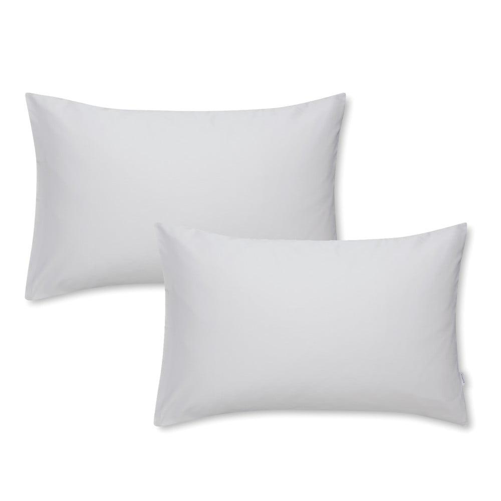 Sada 2 šedých povlaků na polštář z bavlněného saténu Bianca Standard, 50 x 75 cm