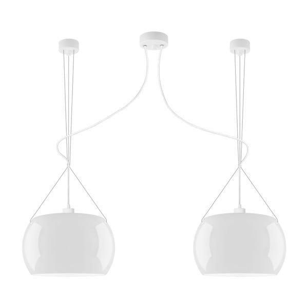 Bílé dvojité lesklé závěsné svítidlo Sotto Luce MOMO