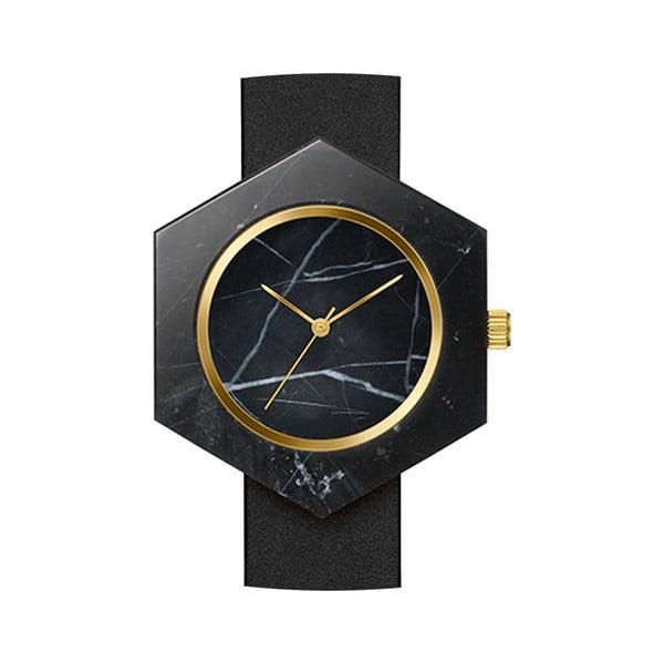 Černé hranaté mramorové hodinky s černým řemínkem Analog Watch Co.