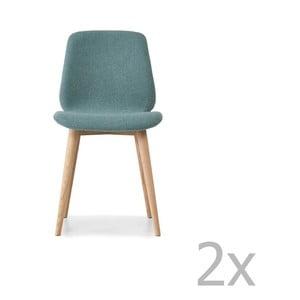 Sada 2 světle modrých jídelních židlí s nohami z masivního dubového dřeva WOOD AND VISION Cut