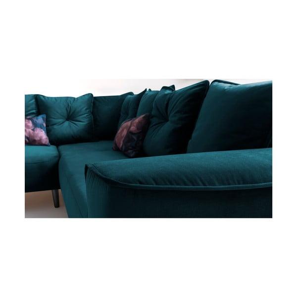 Canapea extensibilă cu șezlong pe partea stângă Bobochic Paris Hera Bis, turcoaz