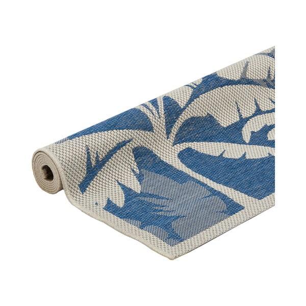 Covor foarte rezistent Floorita Palms Blue, 160 x 230 cm, albastru