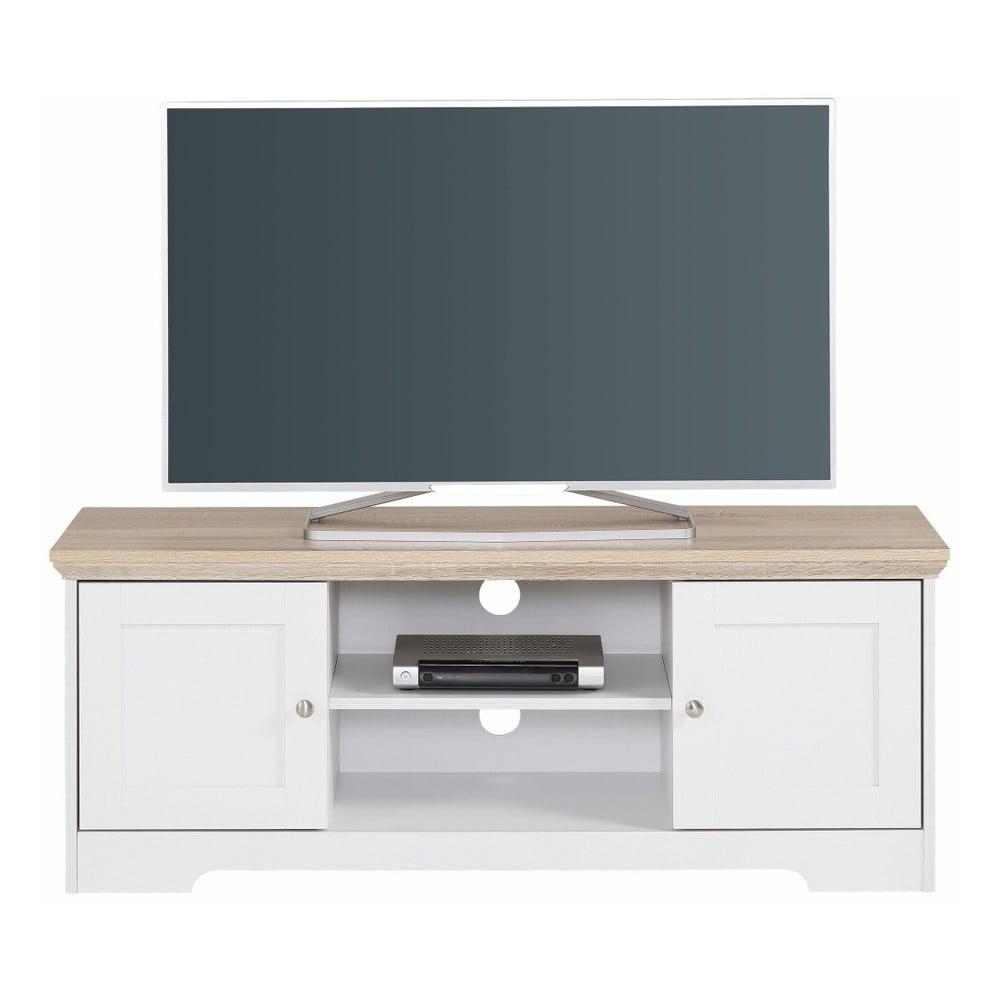 Bílý TV stolek s deskou v dekoru dubového dřeva Støraa Annie, 120x45cm