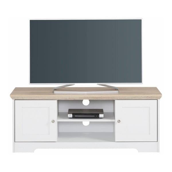Biała szafka pod TV z blatem z dębowym dekorem Støraa Annie, 120x45cm