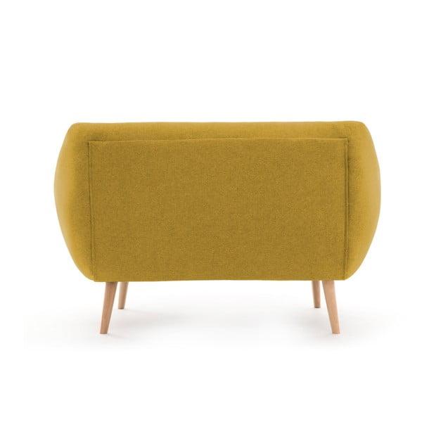 Canapea cu 2 locuri Vivonia Kennet, galben - natural