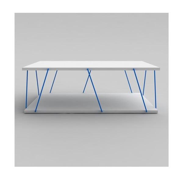 Biały stolik z niebieskimi elementami Rafevi Tars