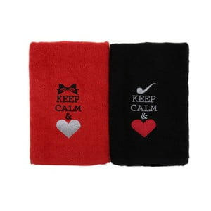 Sada 2 ručníků Keep Calm, 50x90cm