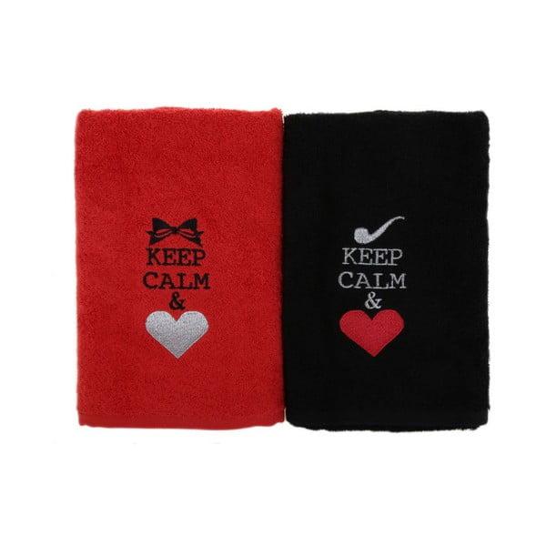Komplet 2 czarno-czerwonych bawełnianych ręczników Keep Calm, 50x90 cm
