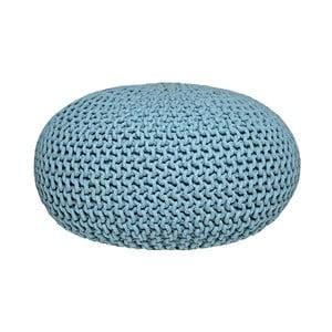 Tyrkysový  pletený puf LABEL51 Knitted XL