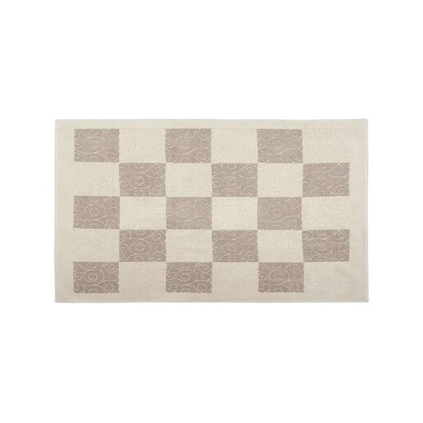 Krémový bavlněný koberec Check 80x150 cm