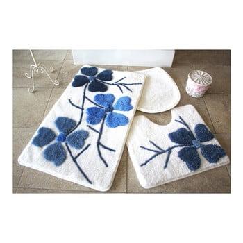 Set 3 covorașe de baie Confetti Bathmats Flowers, albastru – alb de la Chilai Home by Alessia