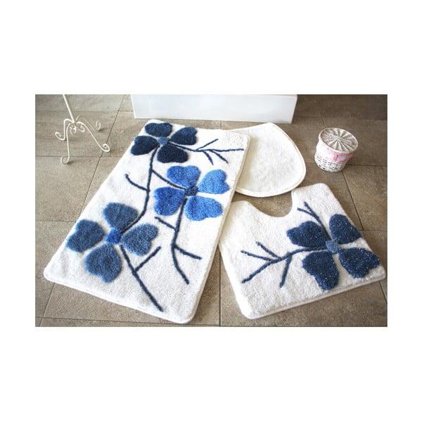 Alessia Flowers 3 db-os kék-fehér fürdőszobai kilépő szett