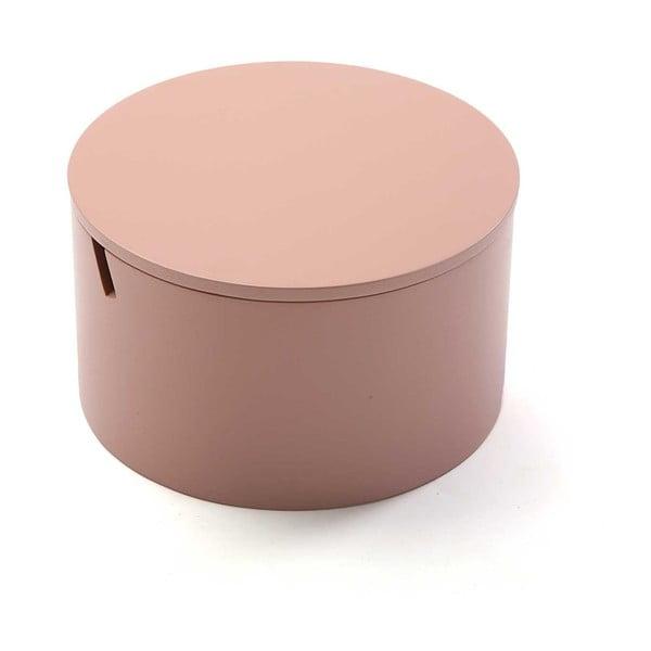 Ružový drevený box na šperky Versa Pinky, ø 14 cm