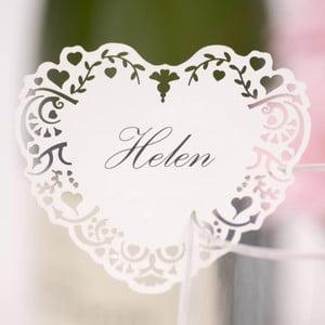 Sada 10 bílých jmenovek na skleničku Neviti Vintage Romance
