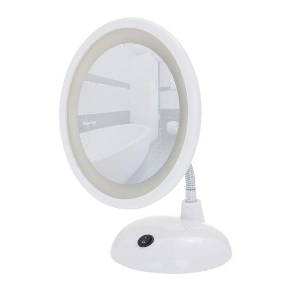 Białe lusterko kosmetyczne z LED Wenko Style