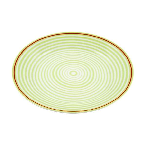 Porcelánový talíř Lines, zelený 4 ks