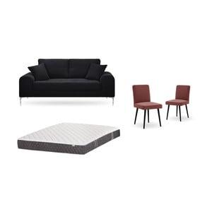 Set dvoumístné černé pohovky, 2cihlově červených židlí a matrace 140 x 200 cm Home Essentials